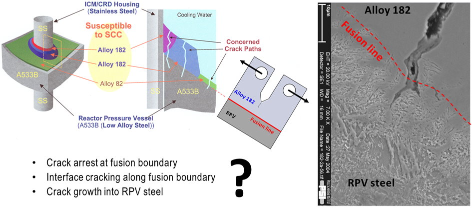 Fig. 1: Potential concern for SCC crack growth from susceptible Alloy 182 weld metal to adjacent RPV steel during BWR service. (© NACE International)